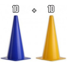 PYLONS 30 cm - 20 pieces (10 yellow and 10 blue)