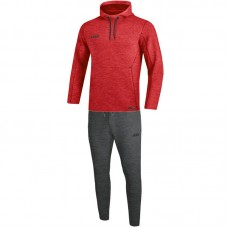 Jogging suit Premium Basics with hooded red heather