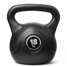 Kettlebell (ball dumbbell) made of plastic - weight: 18 kg